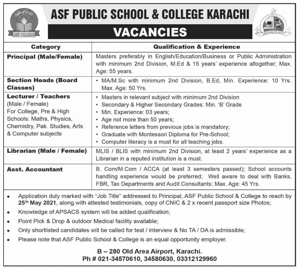 Army Public School & College Karachi ASF Jobs 2021 Latest