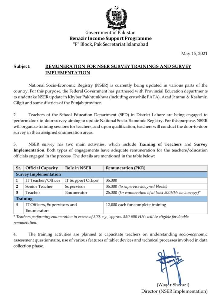 BISP Remuneration For NSER Survey Trainings 2021