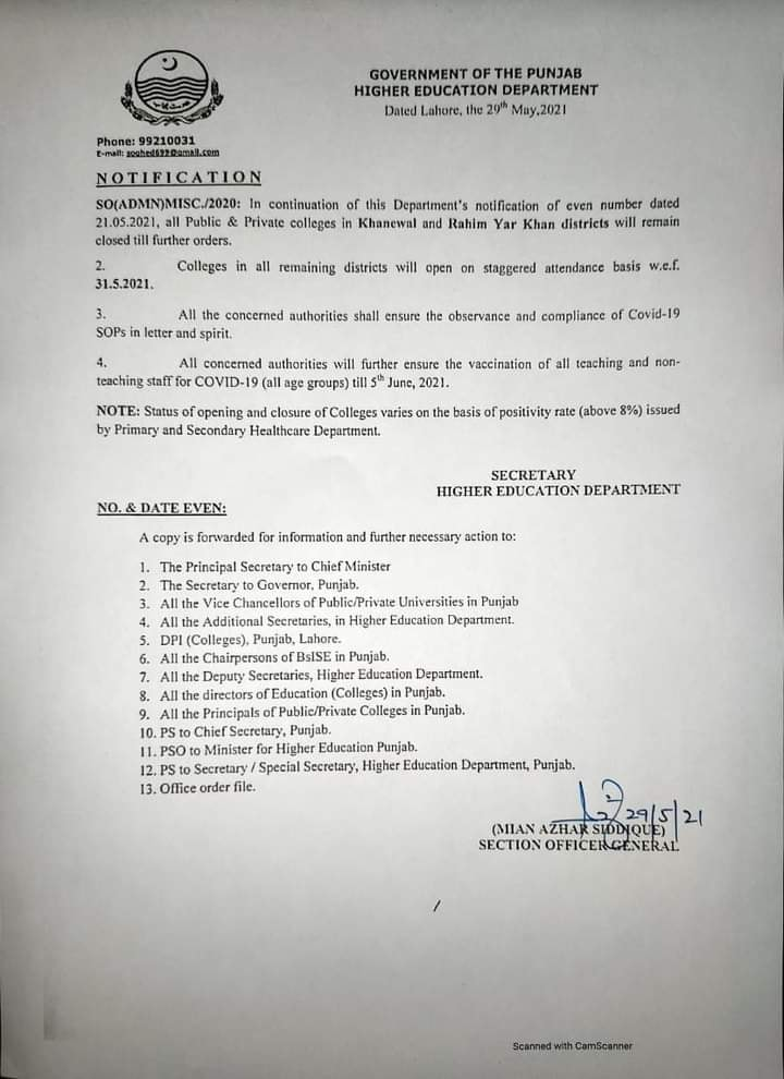 Colleges of All Districts Open Except Khanewal and RYK 2021