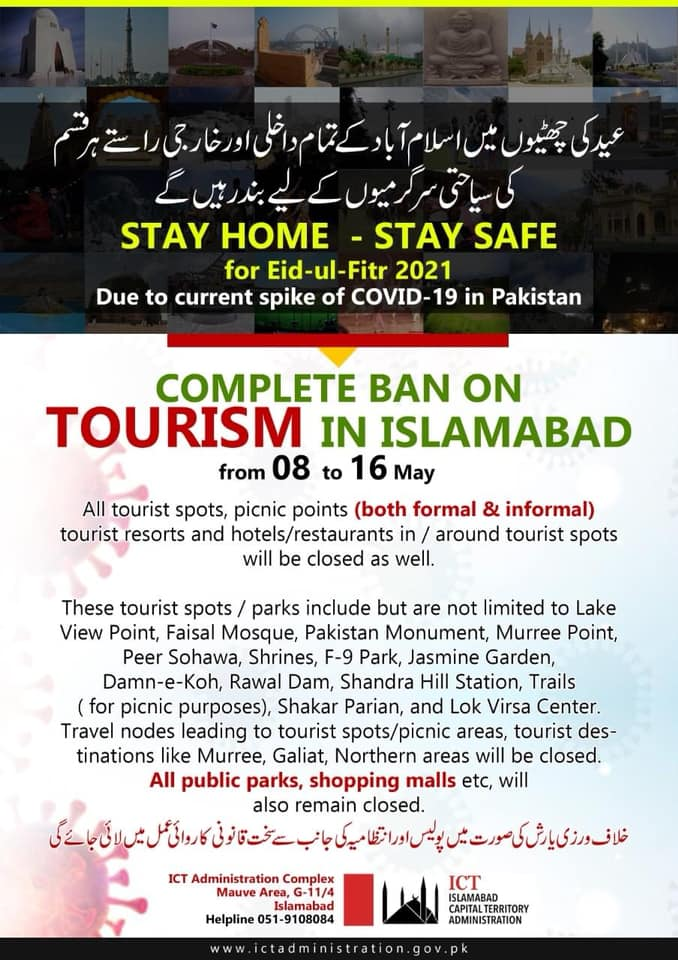 Complete Ban in Tourism, Transport, Bazaars and Commercial Activities 2021 ICT