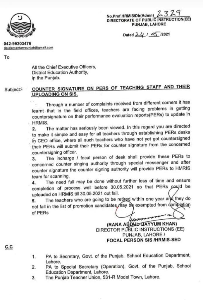 Counter Signature on PERs of Teachers on SIS Punjab 2021