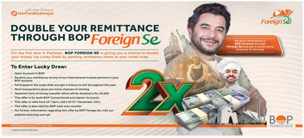 Double Your Remittance Through BOP Foreign SE 2021