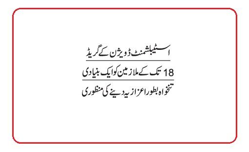Eid Bonus 2021 For Police, CDA and AGPR