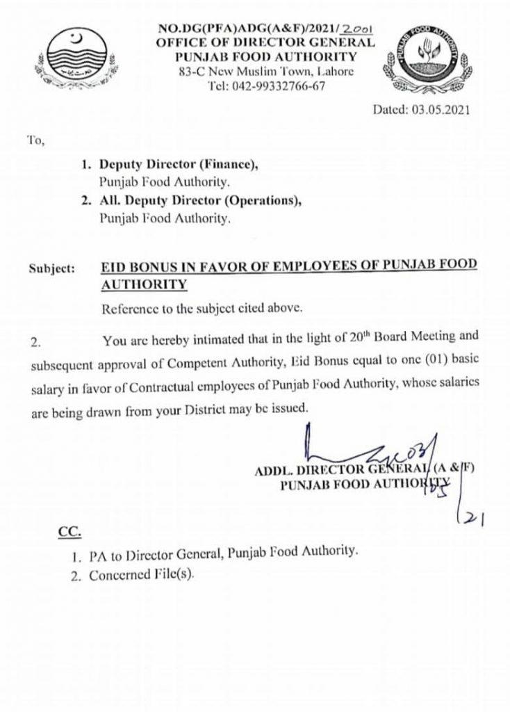 Eid Bonus 2021 Punjab Food Authority