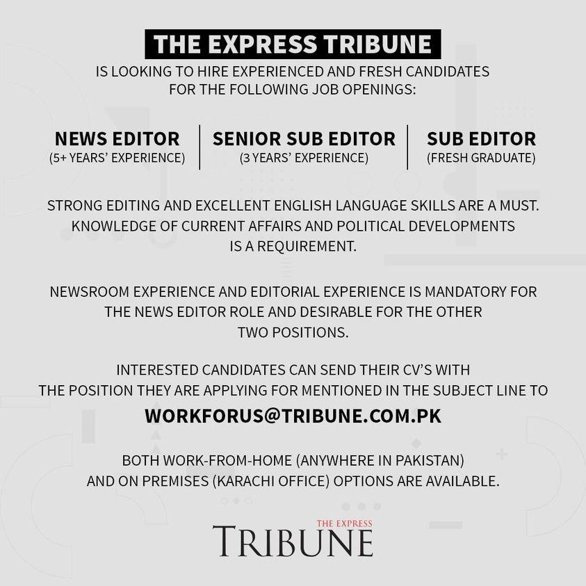 Express Tribune Jobs of Editors 2021