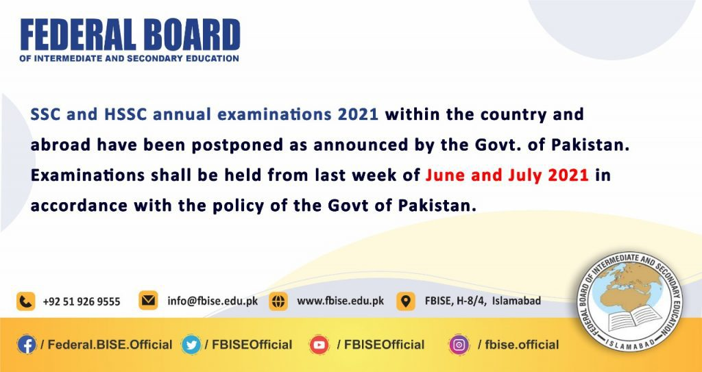 FBISE SSC and HSSC Annual Examinations 2021