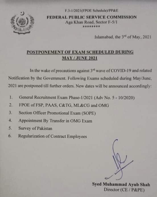 FPSC Postponed Exams Schedule During May-June 2021