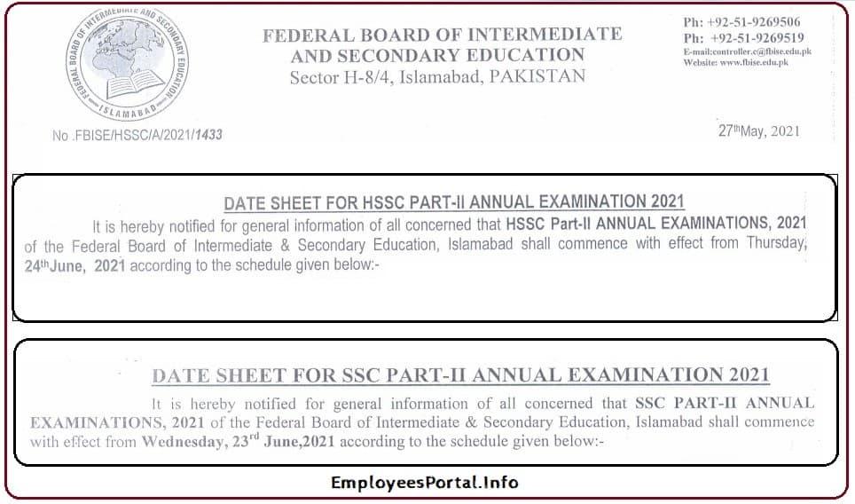 Federal Board Date Sheet For SSC & HSSC Exams 2021