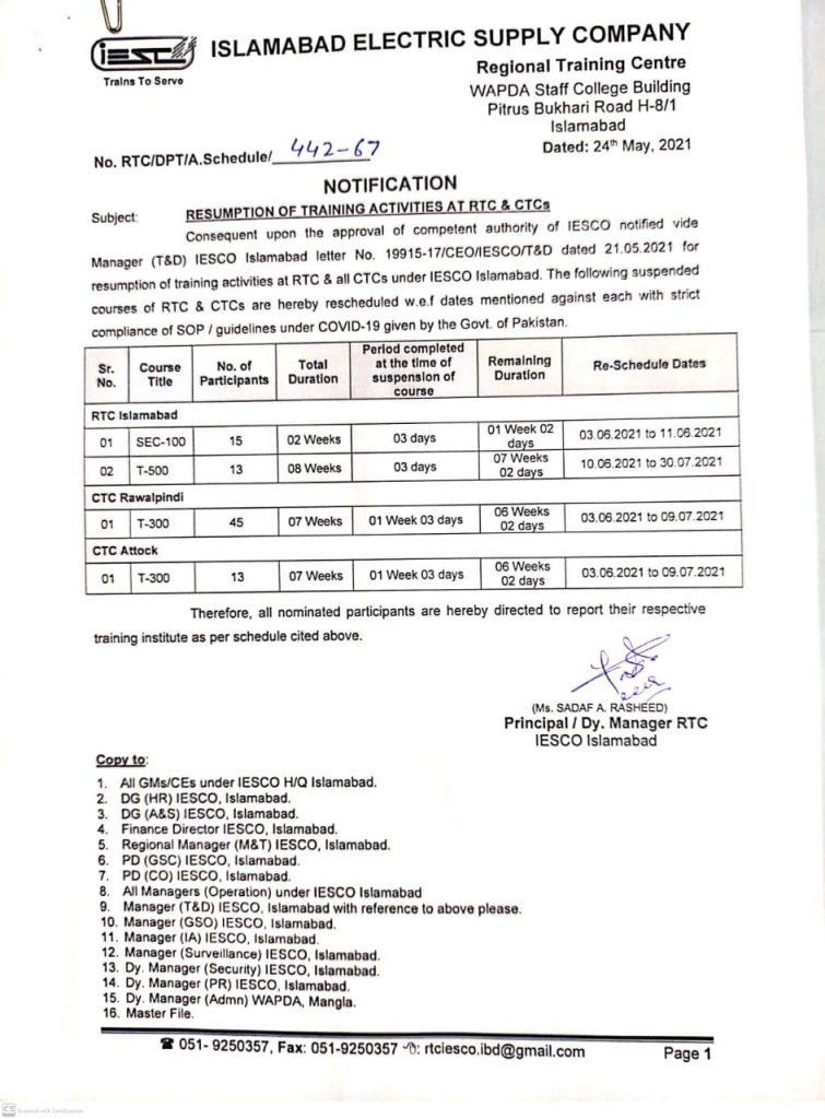 IESCO Islamabad Training At RTC & CTC 2021 WAPDA