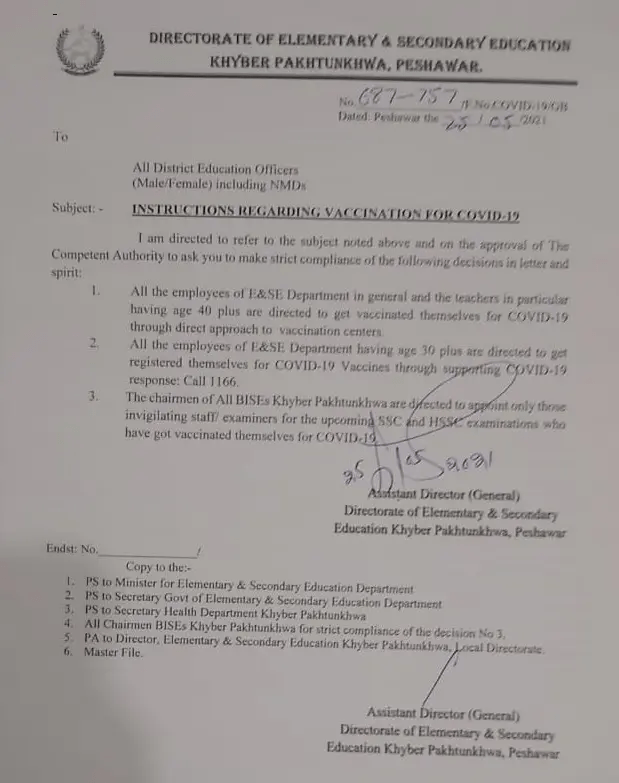 Notification For Instruction of Covid Vaccination For Teachers 2021