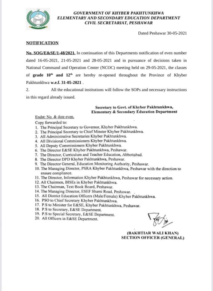 Notification of Colleges and Schools Reopening in KPK 2021