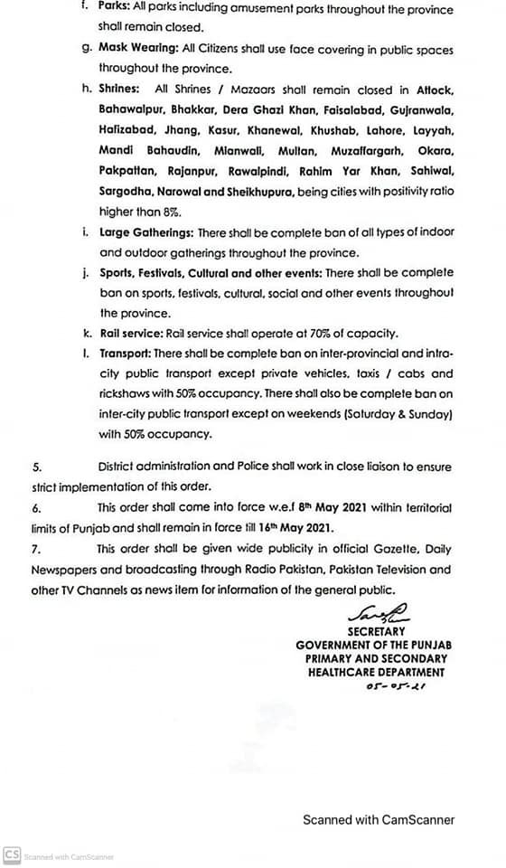 Notification of Complete Lockdown in Punjab 8th To 16th May 2021-Page-3