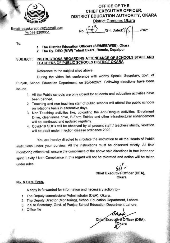 Notification of Instructions Regarding Attendance of School Staff and Teachers Okara 2021