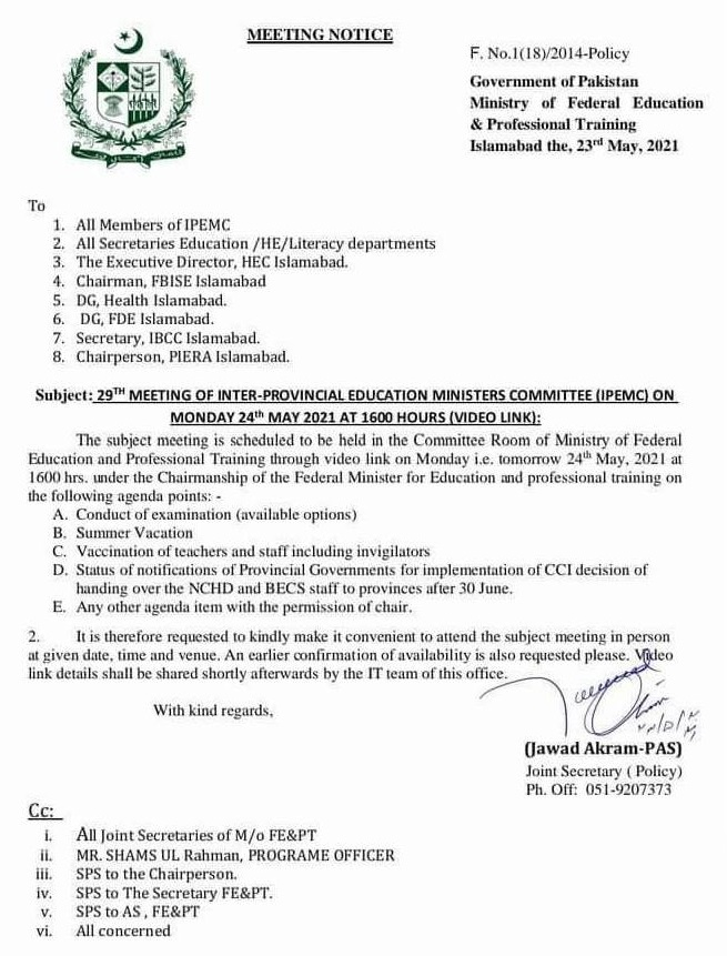Notification of Inter-Provincial Education Ministers Meeting 2021