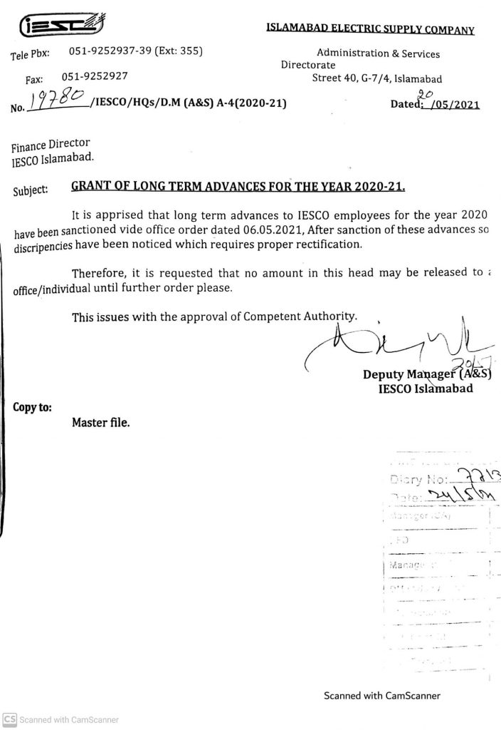 Notification of Long Term Advances To IESCO Employees 2021