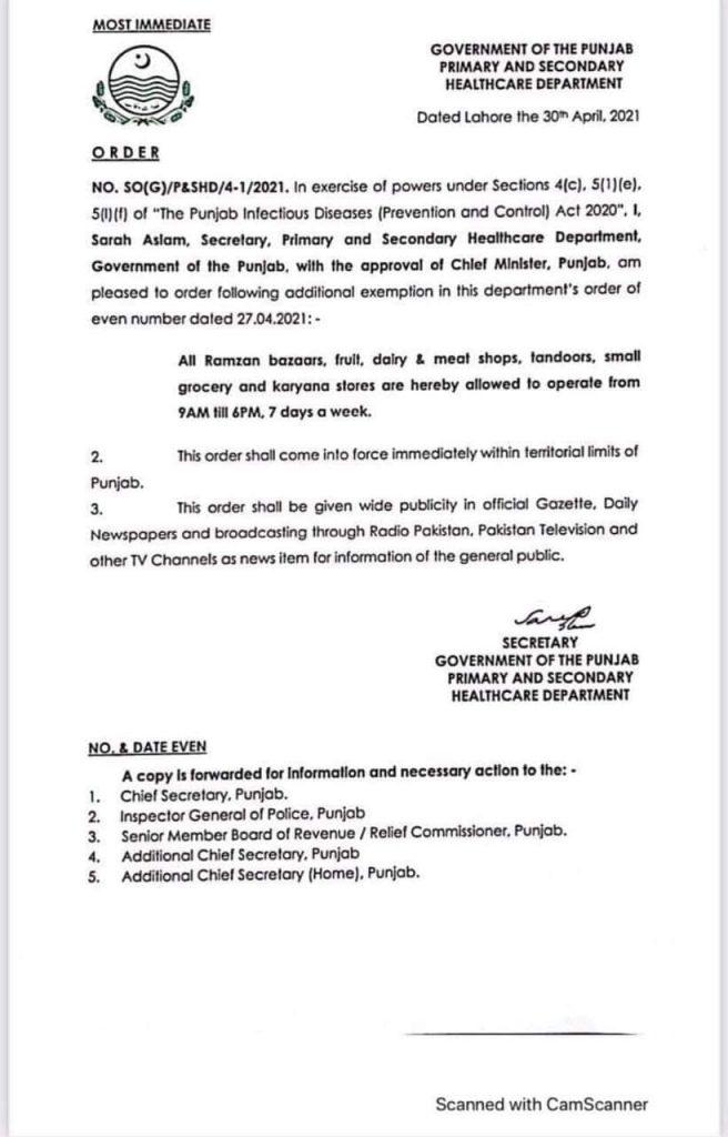 Notification of Market Timing in Punjab Today 2021