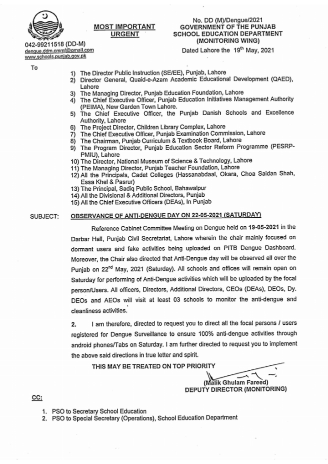 Notification of Observe Anti-Dengue Day on 22 May 2021