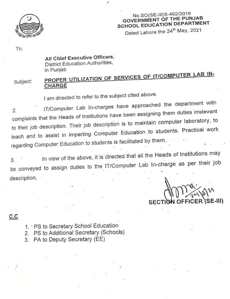 Notification of Proper Utilization of Services of ITComputer Lab-in Charge 2021