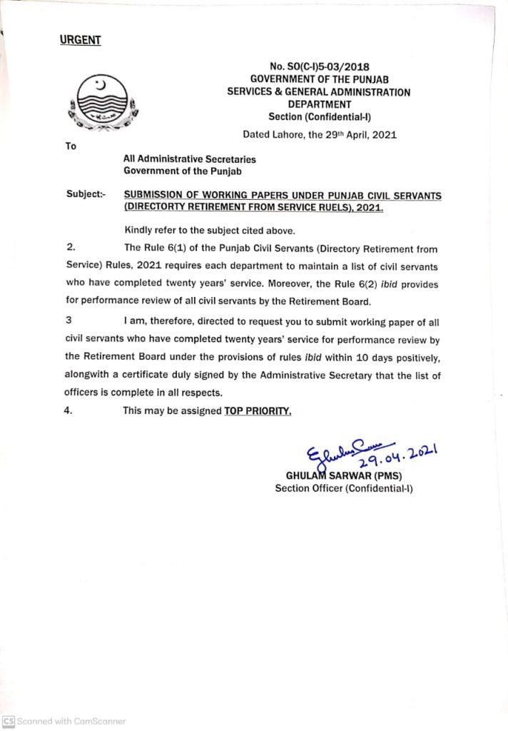 Notification of Submission of Working Papers Under Punjab Civil Servants 2021