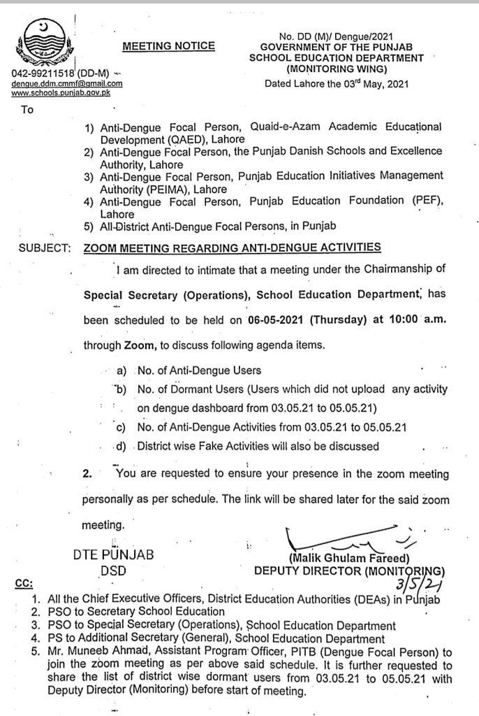 Notification of Zoom Meeting Regarding Anti-Dengue Activities May 2021