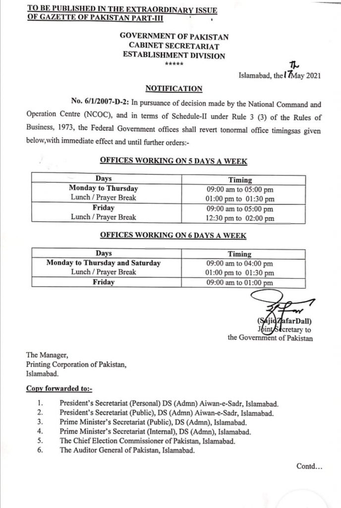 Office Timings After Eid 2021