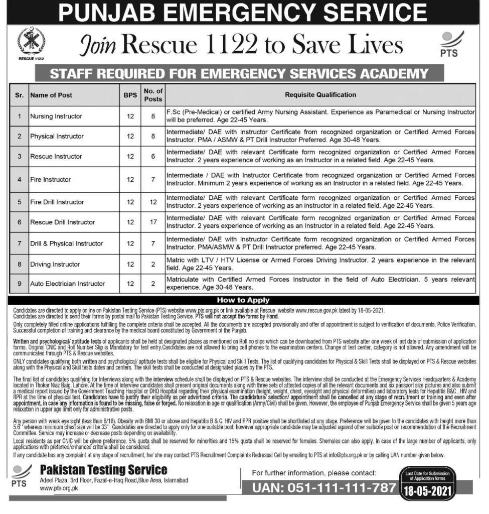 Rescue 1122 Jobs 2021 Punjab Online Apply