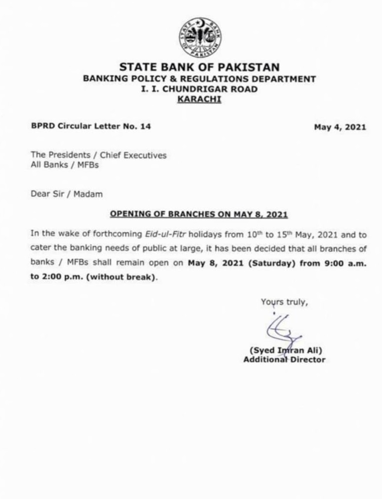 SBP Notification of Opening All Bank Branches on 8th May 2021