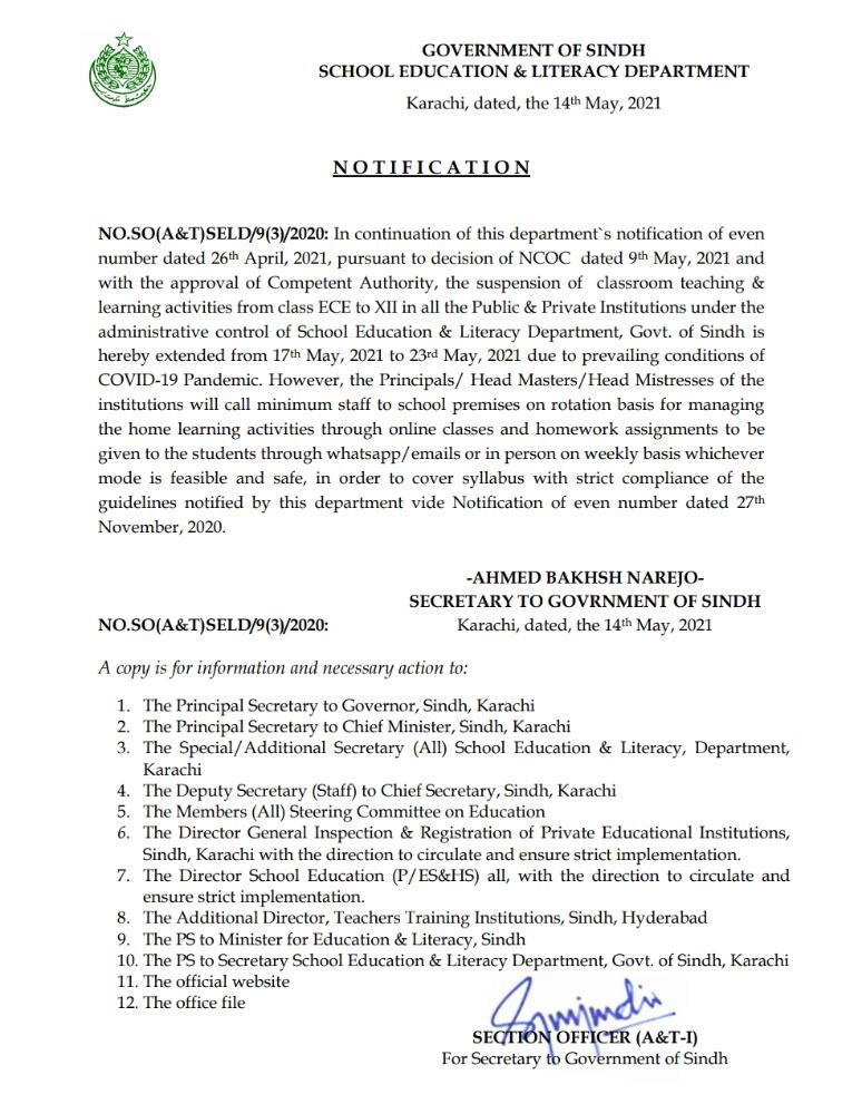 Schools Closure in Sindh Till 23 May 2021