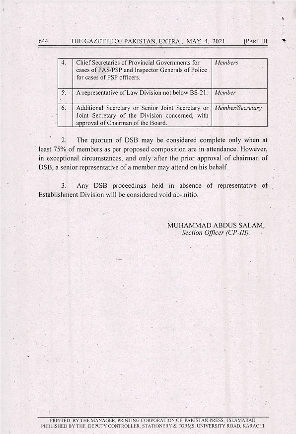 Selection Board For Promotion of Federal Servants BPS-18 To BPS-19