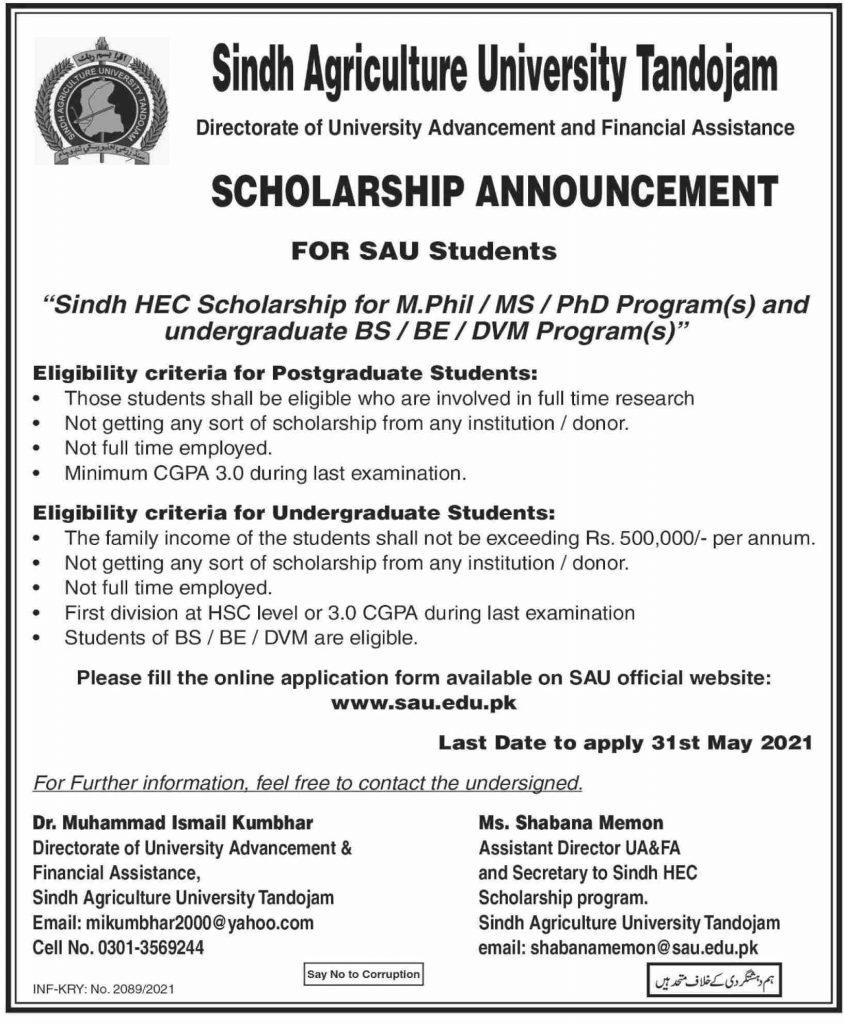 Sindh Agriculture University Tandojam Scholarship 2021