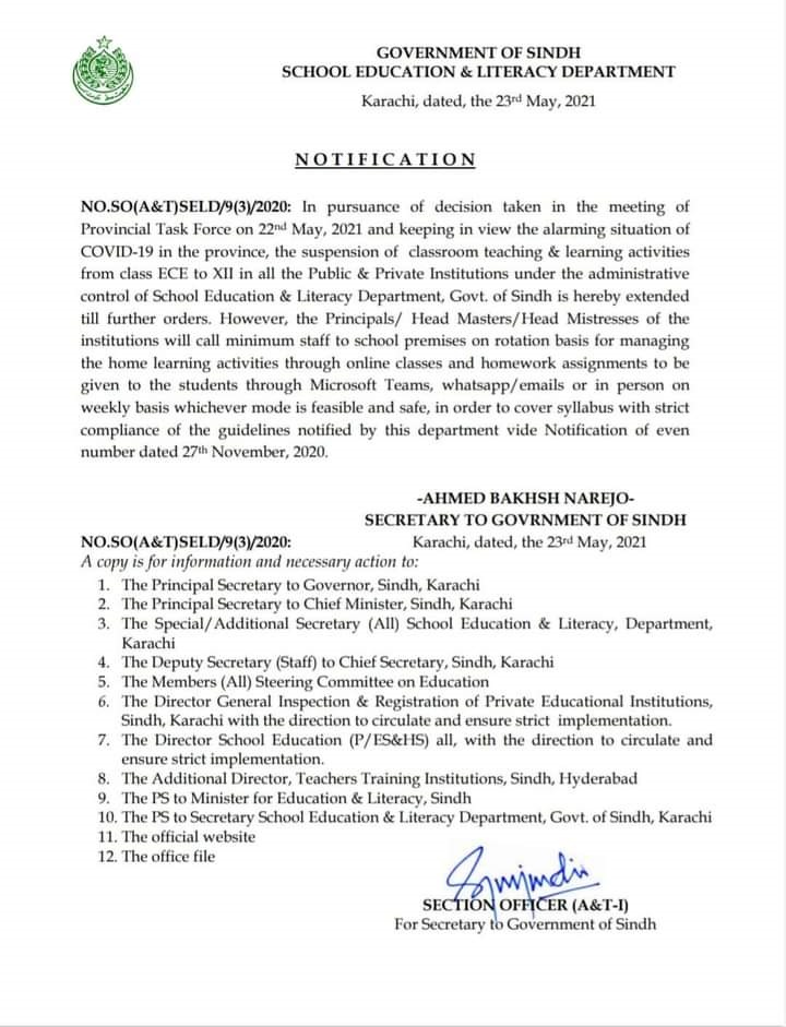 Sindh Education Notification of Suspension of Teaching & Learning Activities 2021