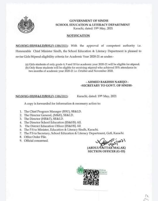 Sindh Notification of Revised Girls Stipend Criteria 2021