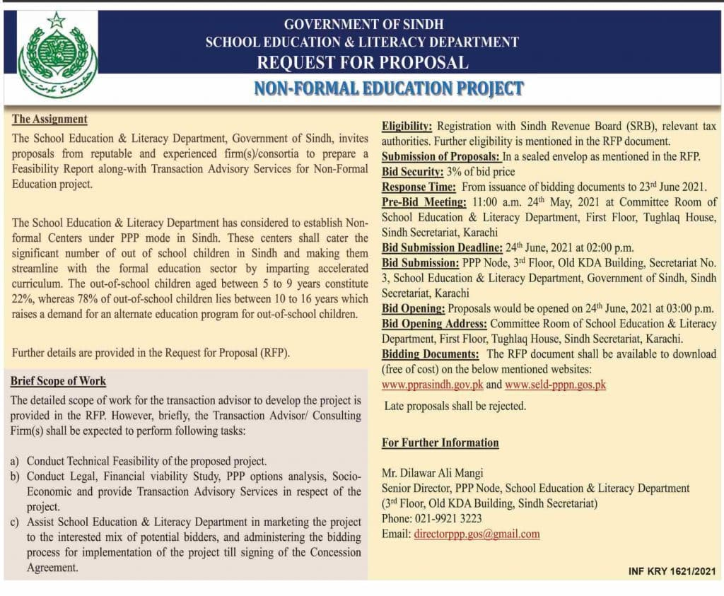 Sindh Schools Non-Formal Education Project 2021