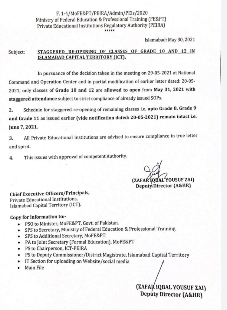 Staggered Reopening of Classes of Grade-10 and Grade-12 in ICT 2021