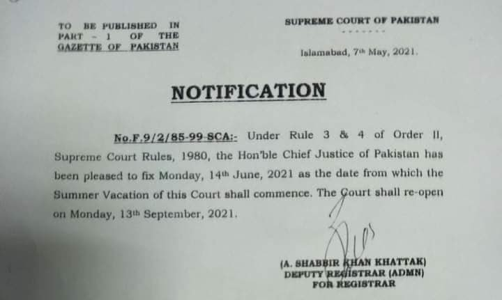 Summer Vacation in Supreme Court 2021