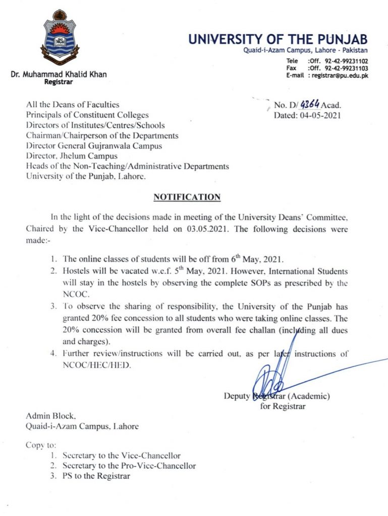 University of Punjab Offers 20% Fee Concession During Online Classes 2021
