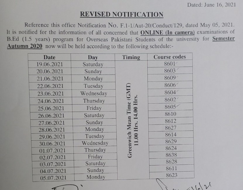 AIOU Revised Notification of B.Ed For Overseas Students 2021