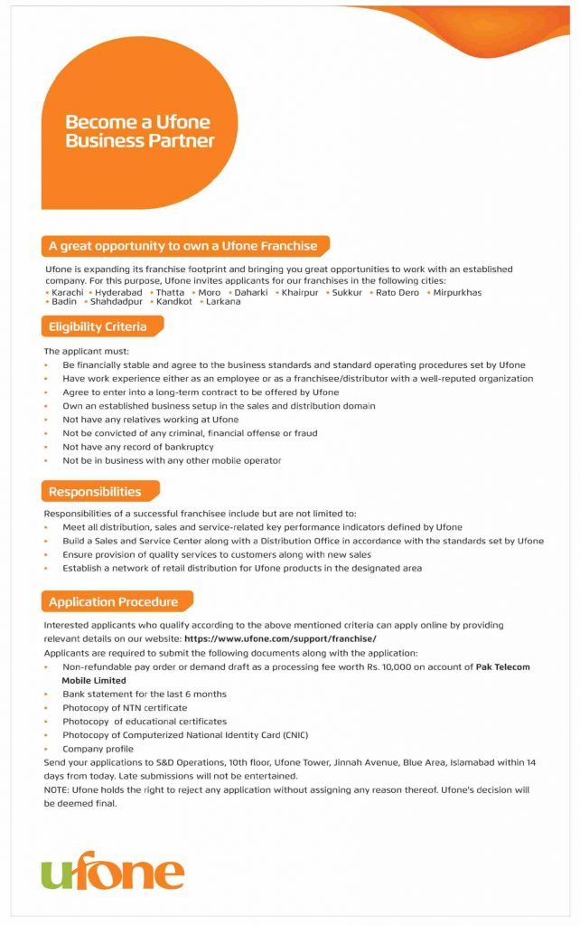 Best Ufone Franchise Opportunities in Sindh 2021