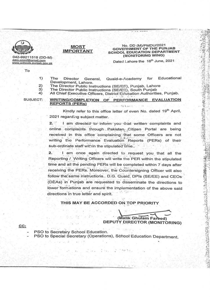 Completion of Performance Evaluation Reports (PERs)  ACRs 2021