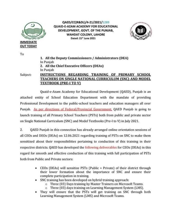 Instructions of Single National Curriculum Training for PST Teachers Notification 2021