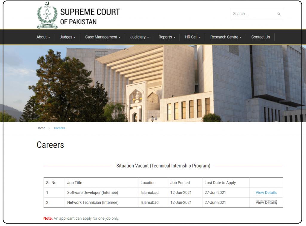 Internship At Supreme Court of Pakistan 2021