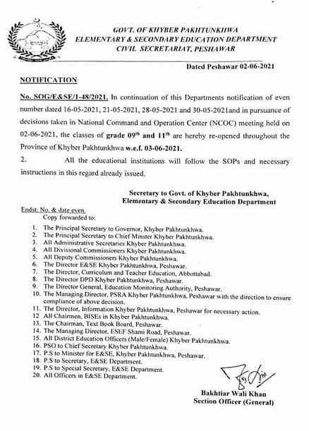 KPK Notification of Opening Class-9th and Class-11th From 3 June 2021