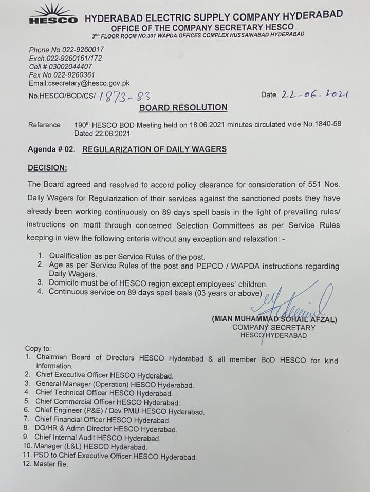 Notification of Daily Wages Employees Regularization in HESCO 2021