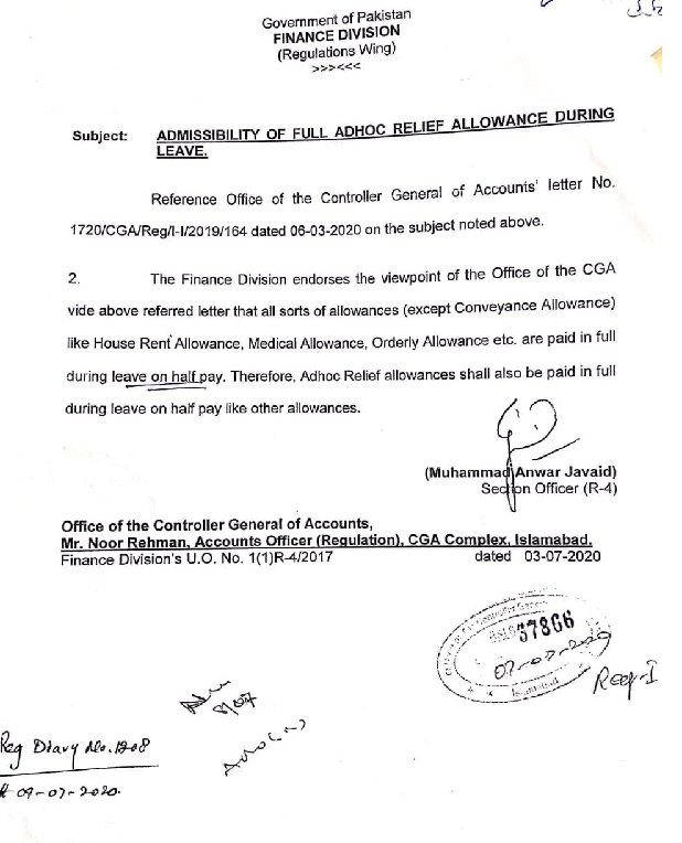 Notification of Full Payment During Leave on Half Pay 2021