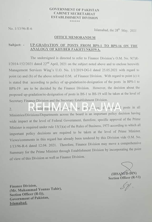 Notification of Upgradation of Posts in KPK 2021