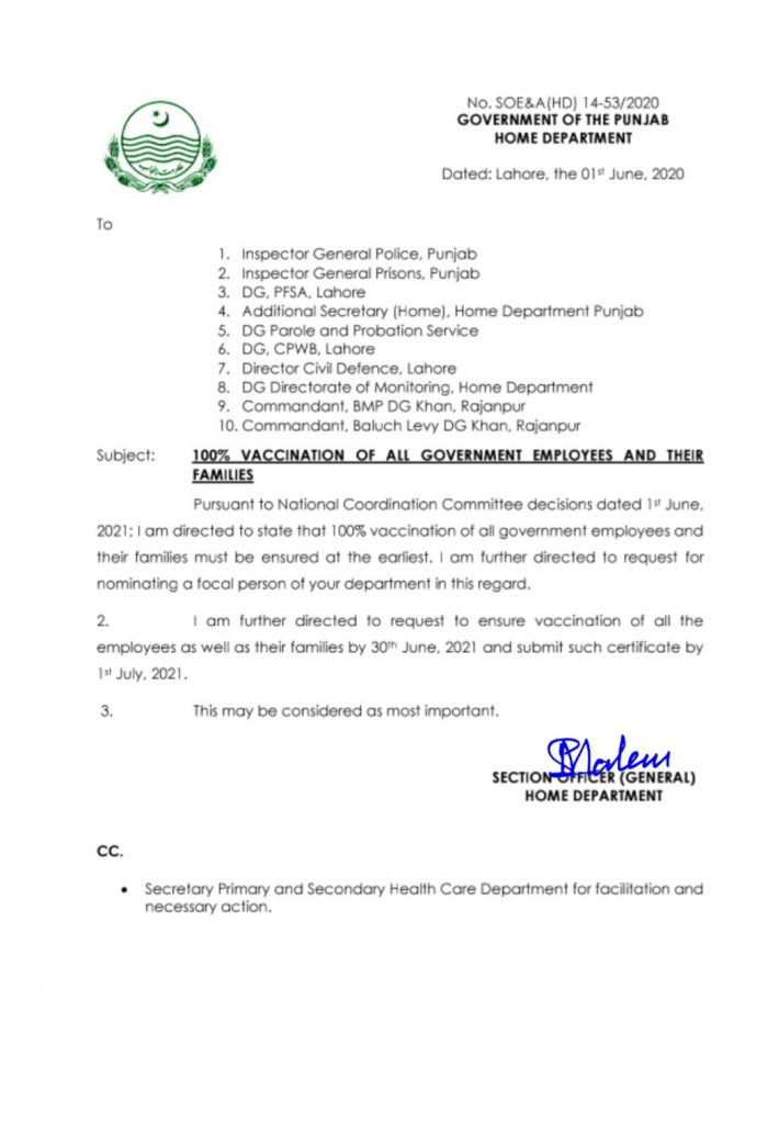 Notification of Vaccination For Govt Employees 2021