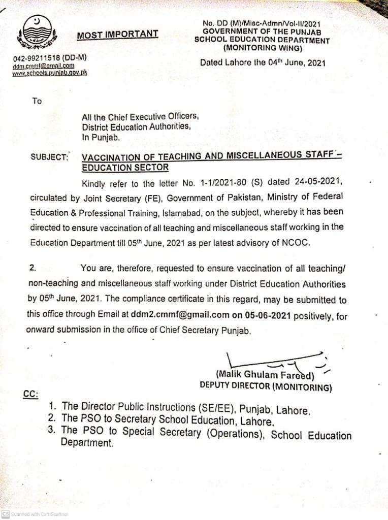 Notification of Vaccination of School Education Teachers Punjab 2021
