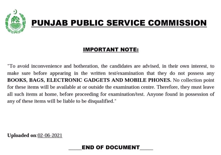 PPSC Instructions To Candidates For Appearing in written Exams 2021