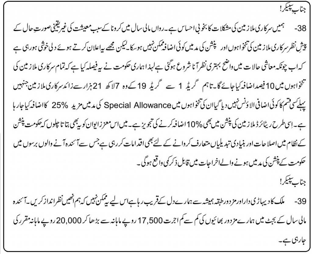 Punjab Govt Employees 35% Salary Increase in Budget 2021-22