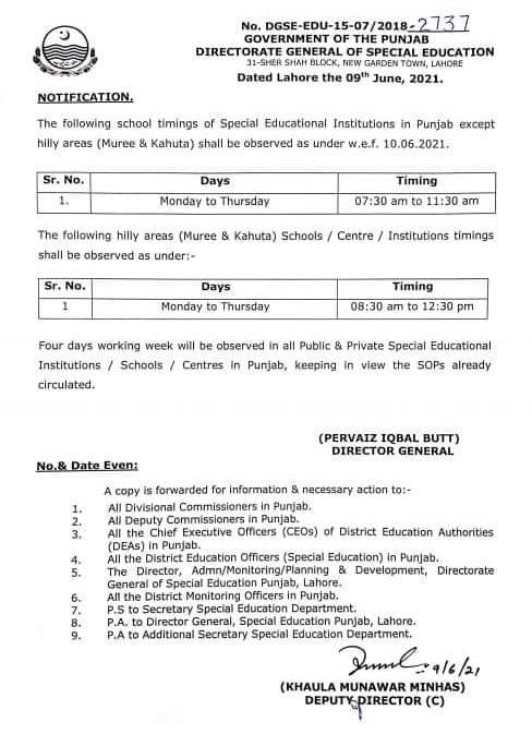 The government of Punjab, Directorate of Special Education has issued the official notification on 9th June 2021 in connection with School Timings of Special Education in Punjab. The new timing schedule of schools is up to 11:30 am (4 Hours) because of heatwave started at the start of June. The further details are given below; Punjab Special School Education Timing Schedule 2021 The following school timings of Special Educational Institutions in Punjab except for hilly areas (Muree & Kahuta) shall be observed as under w.e.f. 10.06.2021. S.NO DAYS TIMINGS 1 Monday To Thursday 07:30 am to 11:30 am The following hilly areas (Muree & Kahuta) Schools / Centre / Institutions timings shall be observed as under: S.NO DAYS TIMINGS 1 Monday To Thursday 08:30 am to 12:30 pm Four days working week will be observed in all Public & Private Special Educational Institutions / Schools / Centres in Punjab, keeping in view the SOPs already circulated.